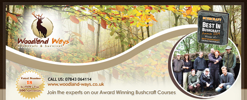 Survival School UK - wilderness survival weekend, foraging course, family bushcraft weekends, bushcraft equipment, outdoor skills training courses.