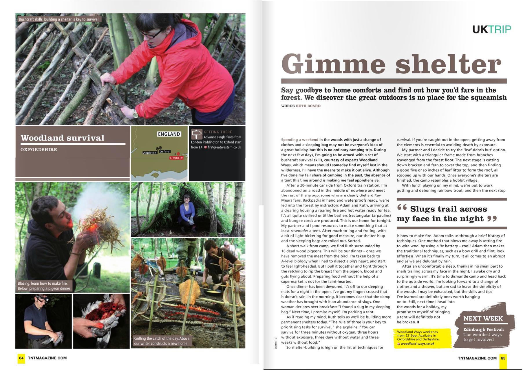 Woodland ways surival weekend courses appears in the press, this time in TNT magazine