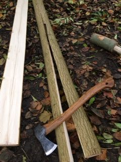 Splitting bow staves.