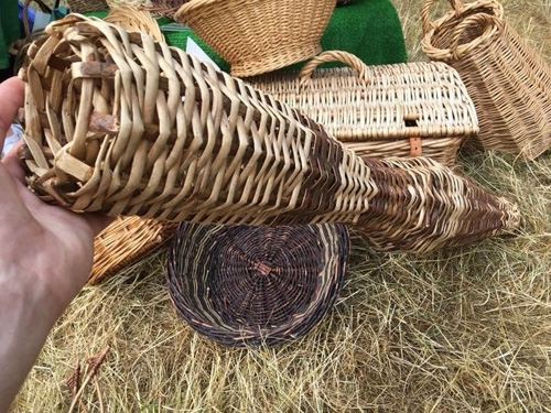 Selection of woven products from eel trap, baskets, and hampers
